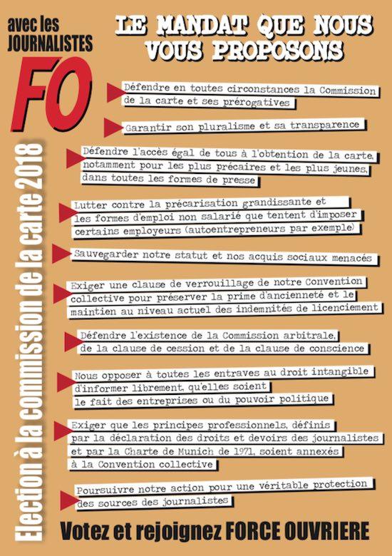 Commission carte des journalistes FO